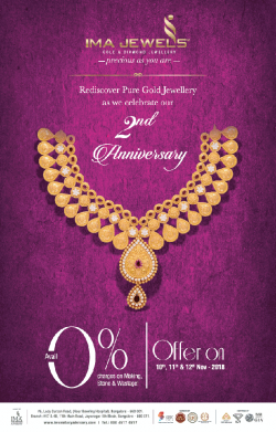 IMA Jewels 2Nd Anniversary Offer 0% On Making Charges Ad in Times of India Bangalore
