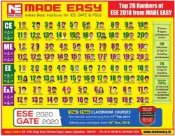 Made Easy Top 20 Rankers of ESE 2018 Ad in Rajasthan Patrika Jaipur