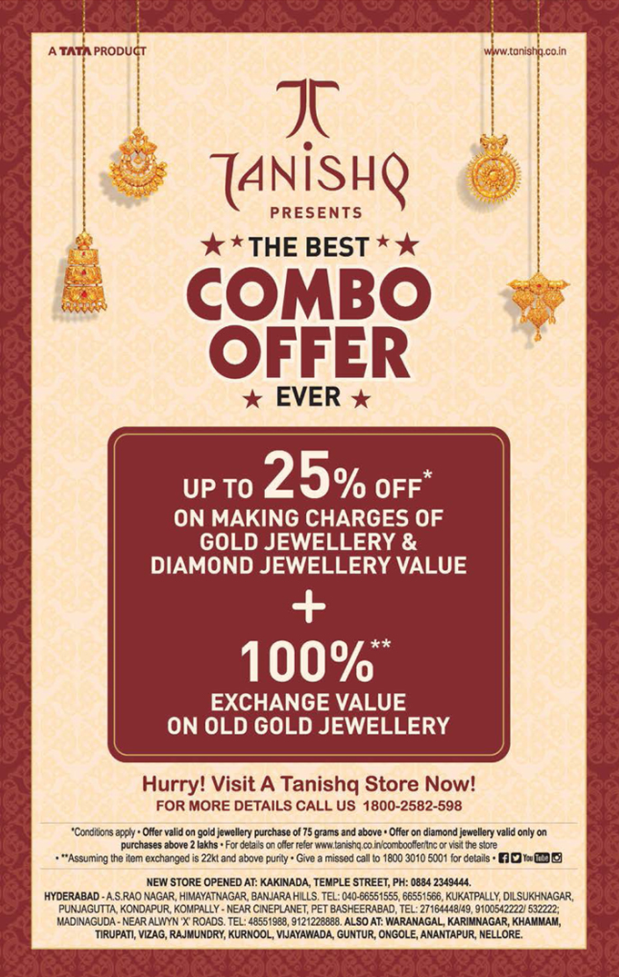 Tanishq Presents The Best Combo Offer Ever Ad in Deccan Chronicle Hyderabad