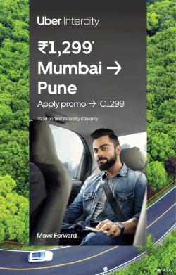 Uber Intercity Rs 1299 Mumbai To Pune Ad