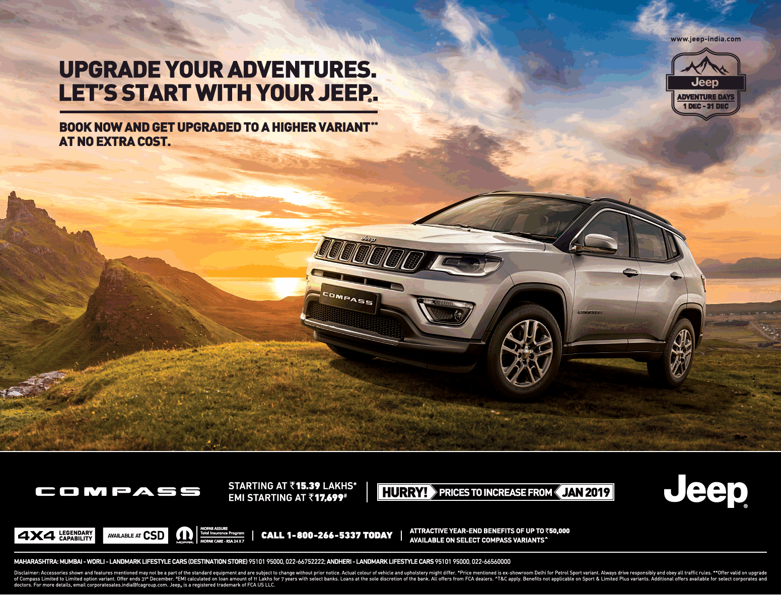 Jeep Car Compass Upgrade Your Adventures Ad In Times Of