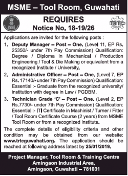 msme-tool-room-requires-guwahati-deputy-manager-ad-times-of-india-delhi-23-12-2018.png