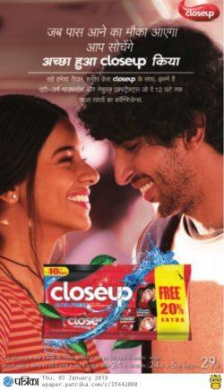 closeup-toothpaste-free-rs-20%-extra-ad-rajasthan-patrika-jaipur-03-01-2019.jpg