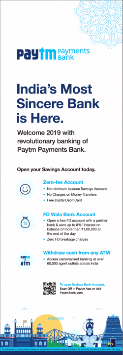 paytm-payments-bank-indias-most-sincere-bank-is-here-ad-times-of-india-mumbai-01-01-2019.png