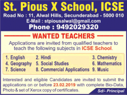st-pious-x-school-icse-wanted-teachers-ad-times-of-india-hyderabad-15-02-2019.png