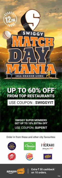 amazon-pay-swiggy-match-day-mania-upto-60%-off-ad-times-of-india-mumbai-23-03-2019.png
