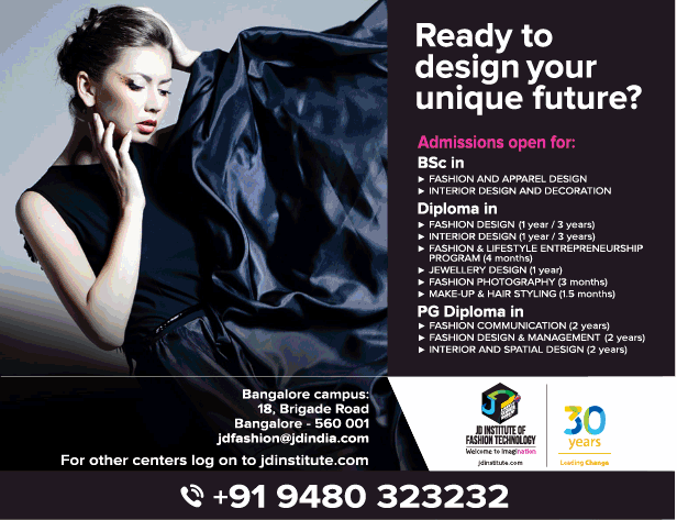 Jd Institute Of Fashion Technology Admissions Open Ad Advert Gallery
