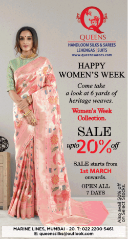 queens-handloom-silk-and-sarees-lehengas-suits-happy-womens-week-ad-bombay-times-01-03-2019.png