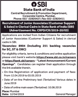 state-bank-of-india-recruitment-of-junior-associates-ad-times-of-india-delhi-12-04-2019.png