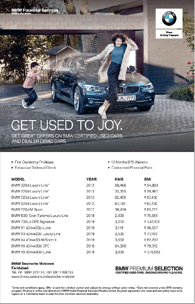 Bmw Financial Services Get Used To Joy Ad Delhi Times - Advert Gallery