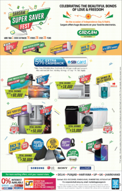 sargam-super-saver-fest-5%-extra-cashback-on-sbi-cards-ad-delhi-times-15-08-2019.png