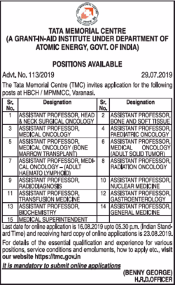 tata-memorial-center-positions-available-assistant-professor-ad-times-ascent-hyderabad-31-07-2019.png
