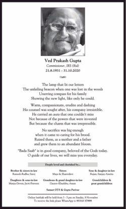 ved-prakash-gupta-commissioner-irs-rtd-obituary-ad-toi-kolkata-3-11-2020