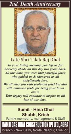 2nd-death-anniversary-late-shri-tilak-raj-dhal-ad-times-of-india-delhi-15-01-2021