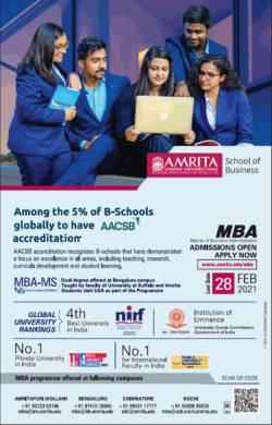 amrita-school-of-business-among-the-5%-of-b-schools-globally-to-have-aacsb-accreditation-ad-times-of-india-mumbai-08-01-2021