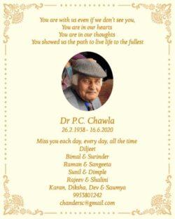 remembrance-dr-p-c-chawla-ad-times-of-india-delhi-26-02-2021