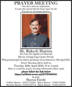 prayer-meeting-sh-rakesh-sharma-ad-times-of-india-delhi-18-04-2021