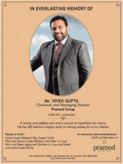 remembrance-mr-vivek-gupta-chairman-and-managing-director-pramod-group-ad-times-of-india-delhi-29-04-2021