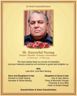in-fond-remembrance-sh-hazoorilal-narang-ad-times-of-india-delhi-20-05-2021