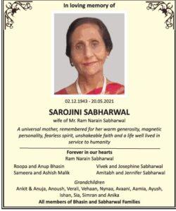in-loving-memory-of-sarojini-sabharwal-ad-times-of-india-delhi-22-05-2021