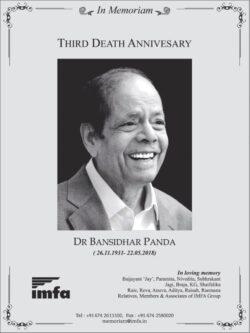 in-memoriam-third-death-anniversary-dr-bansidhar-panda-ad-times-of-india-delhi-22-05-2021