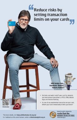 reserve-bank-of-india-amitabh-bachan-reduce-risks-by-setting-transaction-limits-on-your-cards-ad-times-of-india-mumbai-22-05-2021