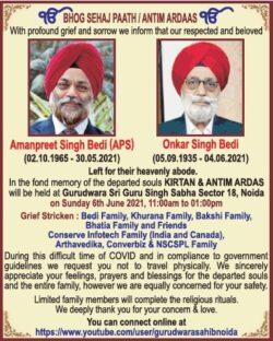 bhog-sehaj-paath-antim-ardaas-amanpreeet-singh-bedi-aps-and-onkar-singh-bedi-ad-times-of-india-delhi-05-06-2021