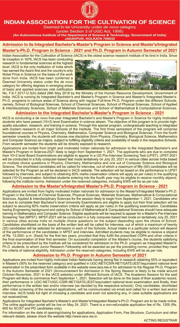 indian-association-for-the-cultivation-of-science-admission-ad-times-of-india-mumbai-01-06-2021