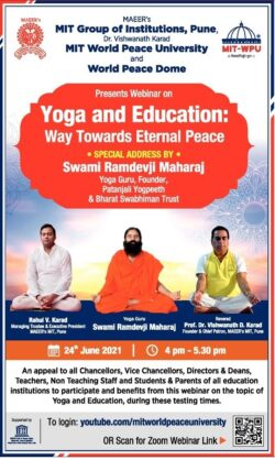 mit-group-of-institutions-pune-mit-world-peace-university-and-world-peace-dome-presents-webinar-on-yoga-and-education-ad-lokmat-mumbai-24-06-2021