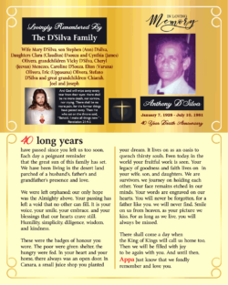 Anthony D Silva 40th Death Anniversary In Loving Memory Of Ad