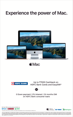 Apple Experience The Power Of Mac Upto Rs 7000 Cashback Easy EMI