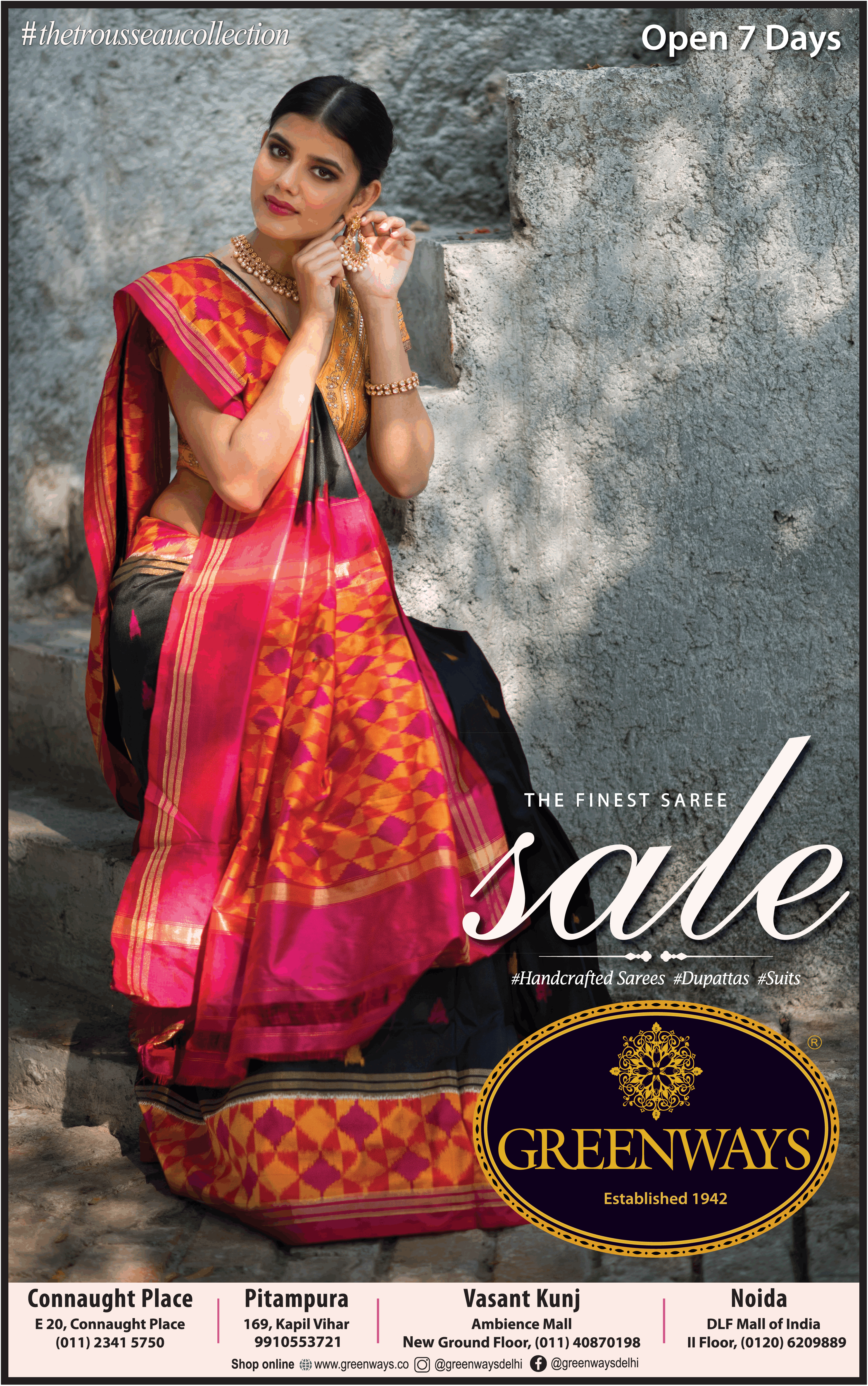 greenways-handcrafted-sarees-dupattas-suits-the-finest-saree-sale-thetrousseaucollection-ad-times-of-india-delhi-10-7-2021