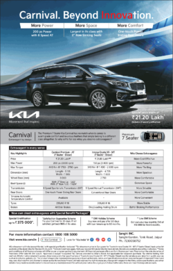 Kia Carnival Premium 7 Seater Special Price Starts At Rs 21.20 Lakh Ad
