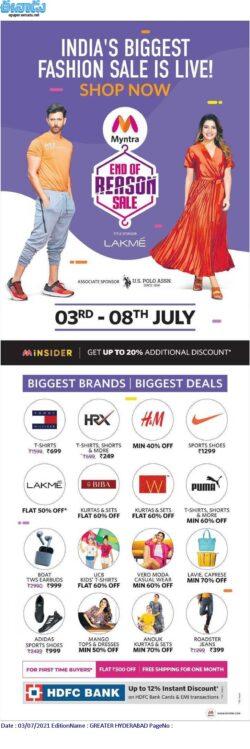 myntra-end-of-reason-sale-indias-biggest-fashion-sale-is-live-ad-eenadu-hyderabad-3-7-2021