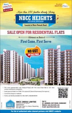 nbcc-heights-gurugram-residential-flats-allotment-ad-times-of-india-delhi-9-7-2021