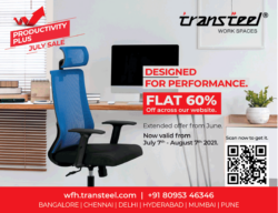 Transteel Chairs Productivity Plus July Sale Flat 60% Off Ad Times Of India Mumbai 10-7-2021